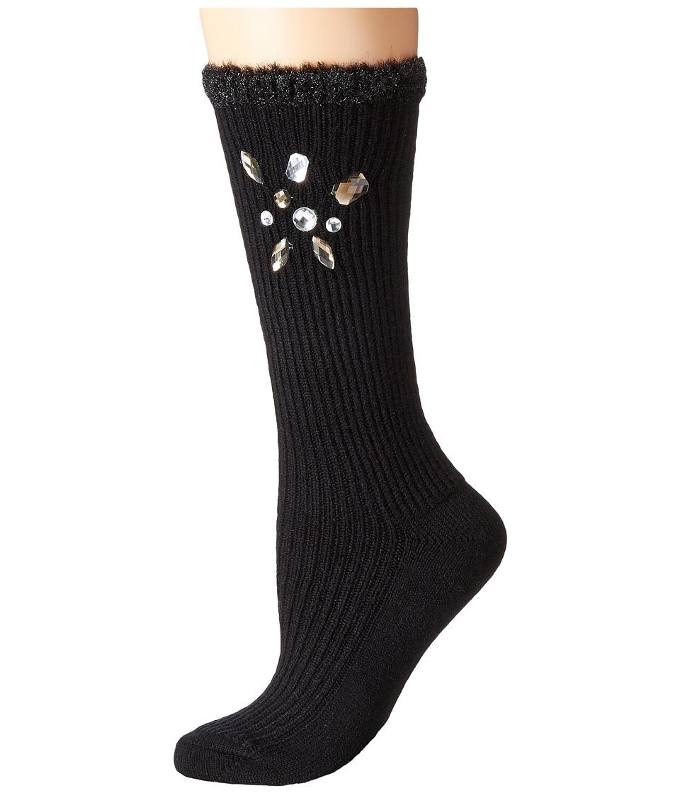 HUE - Chunky Bejewelled Micro Rib Sock (Black) Women's Crew Cut Socks Shoes