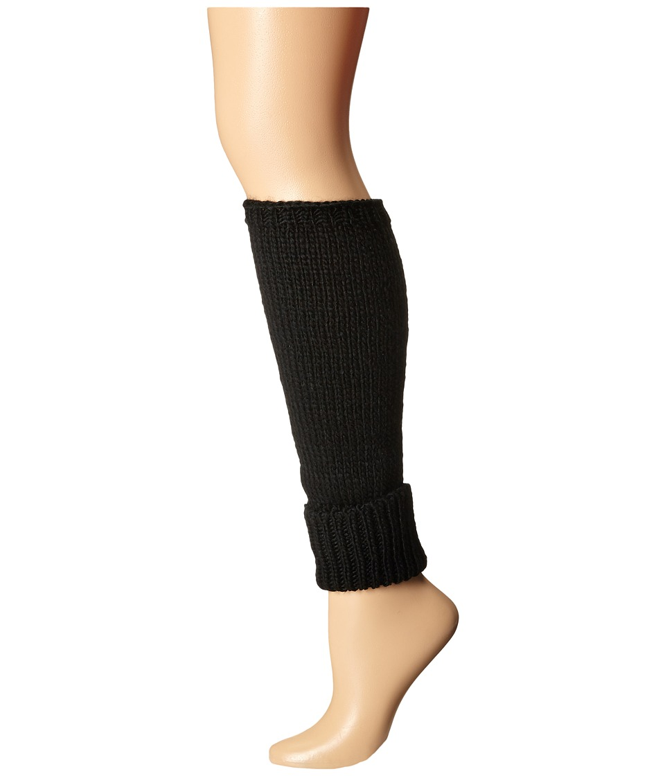 HUE - Cuffed Chunky Cable Legwarmer (Black) Women's Crew Cut Socks Shoes