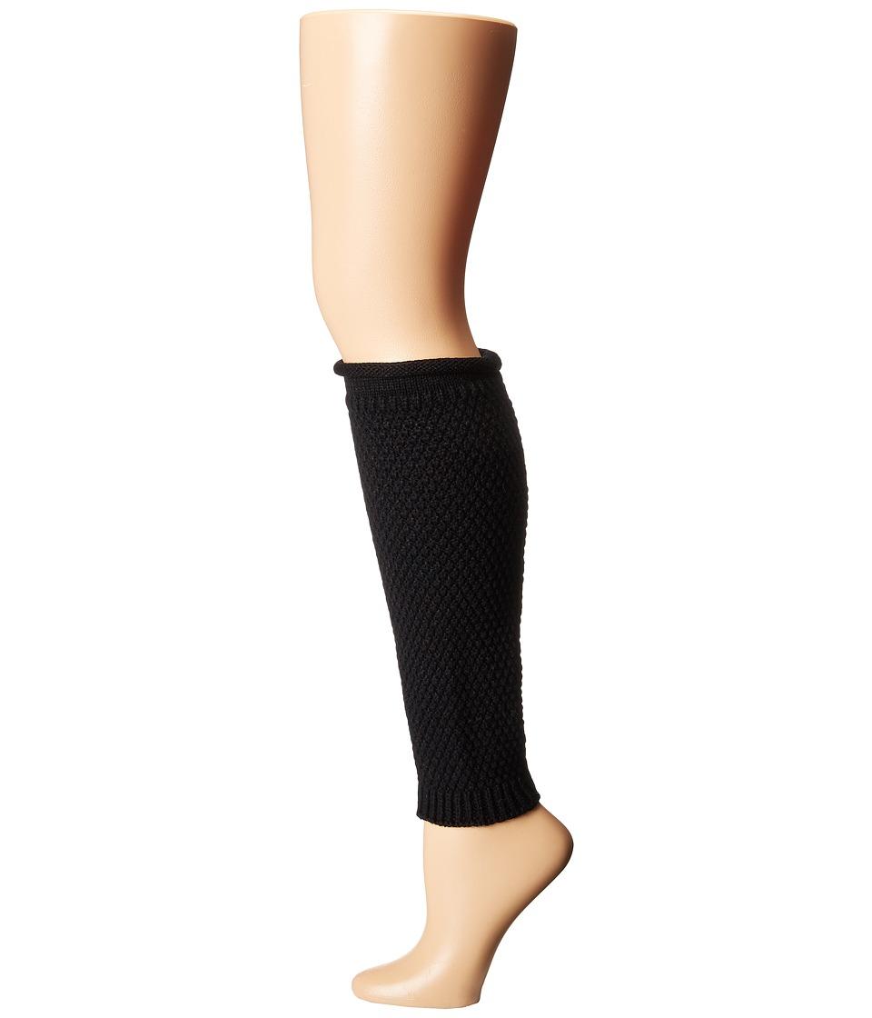 HUE - Popcorn Roll Top Legwarmer (Black) Women's Crew Cut Socks Shoes