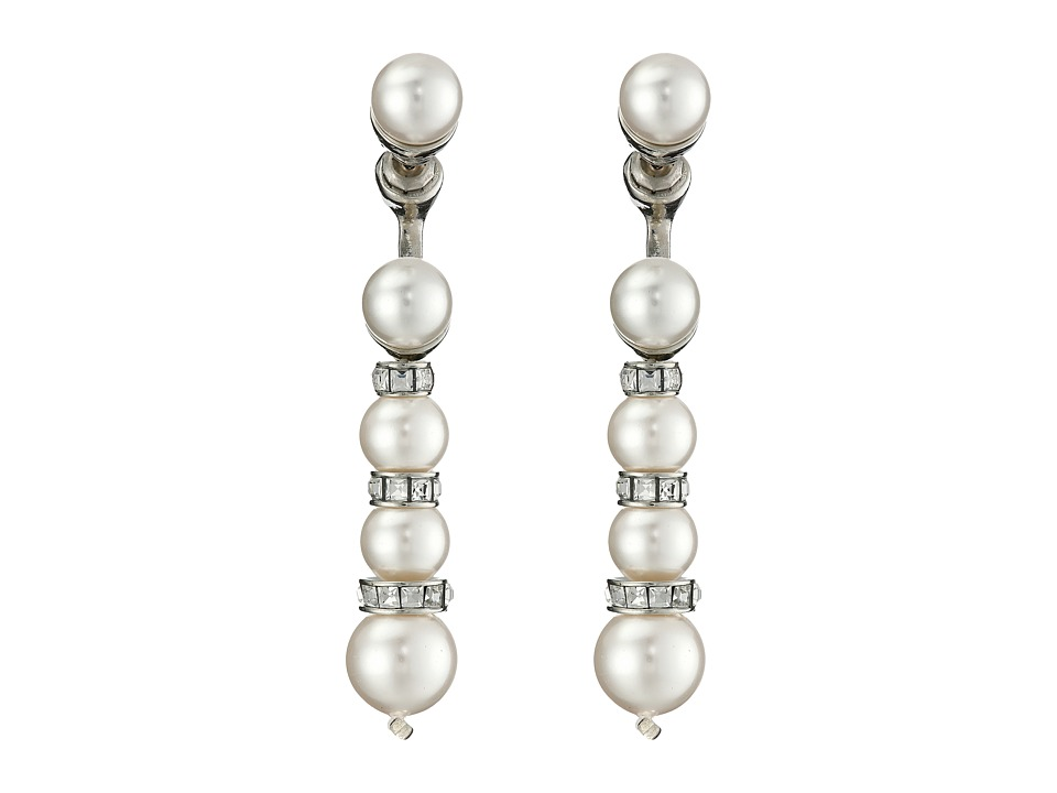 Oscar de la Renta - Pearl Pave Backdrop P Earrings (White/Silver) Earring