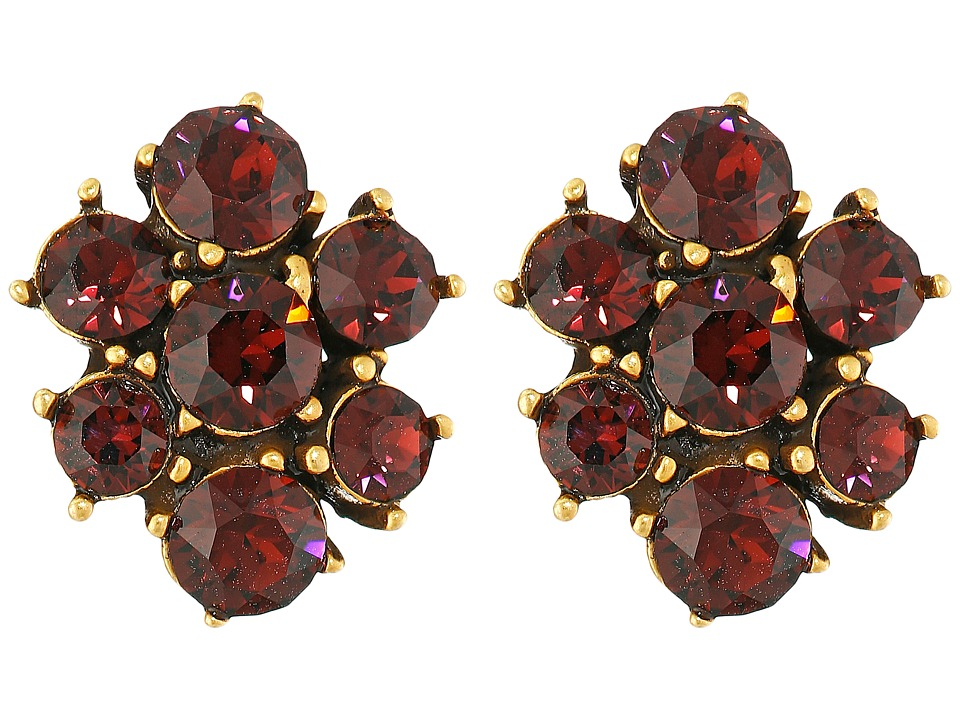 Oscar de la Renta - Crystal Flower Button P Earrings (Bordeaux) Earring