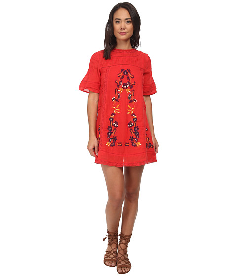 Free People - Sheer Cotton Crinkle Perfectly Victorian Dress (Tomato) Women