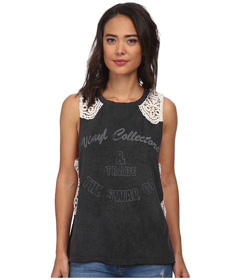 Free People - Bull's-Eye Tee (Washed Black Combo) Women's T Shirt