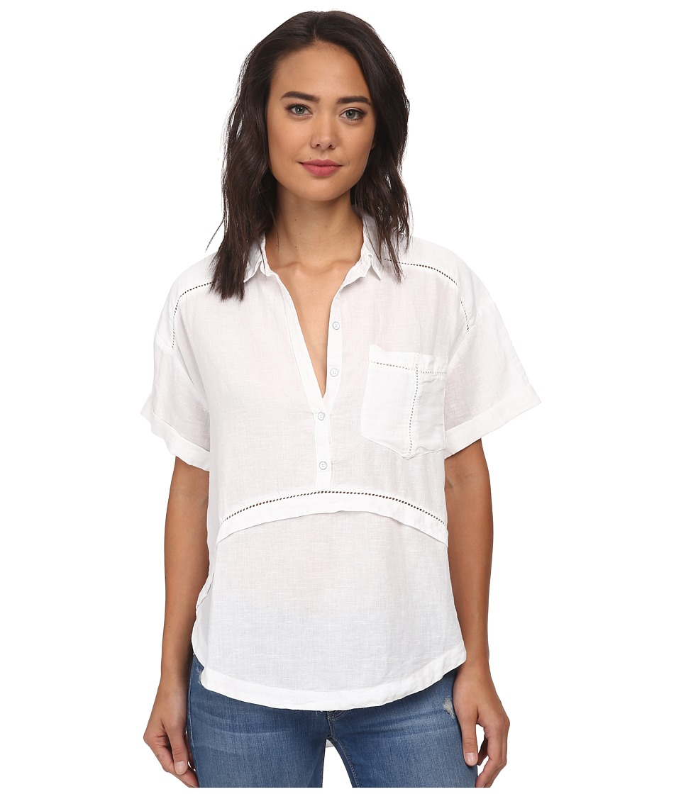 Free People - Weekend Escape Button Down (White) Women's Clothing