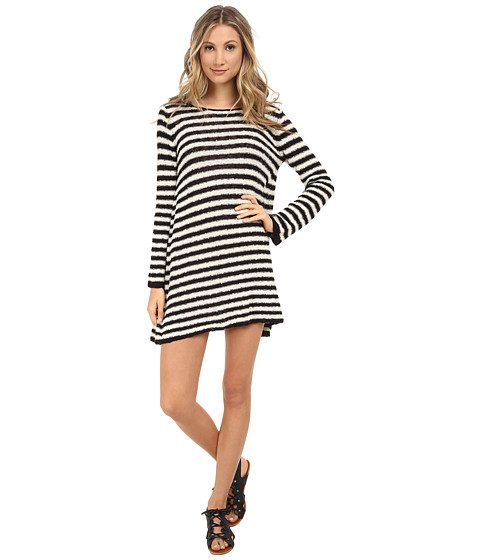 Free People - Striped Swing Tunic (Ivory Black) Women's Dress