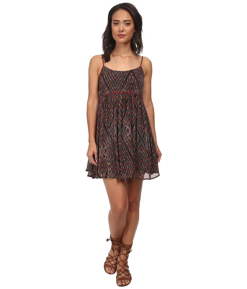Free People - So Nice Chiffon Periscopes In The Sky Babydoll (Black Combo) Women's Dress