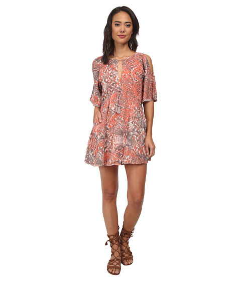Free People - Rayon Gauze Love Birds Mini Dress (Clementine Combo) Women's Dress
