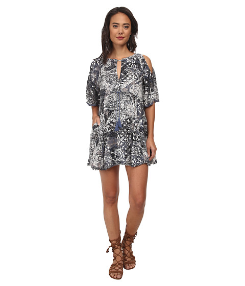 Free People - Rayon Gauze Love Birds Mini Dress (Indigo Combo) Women