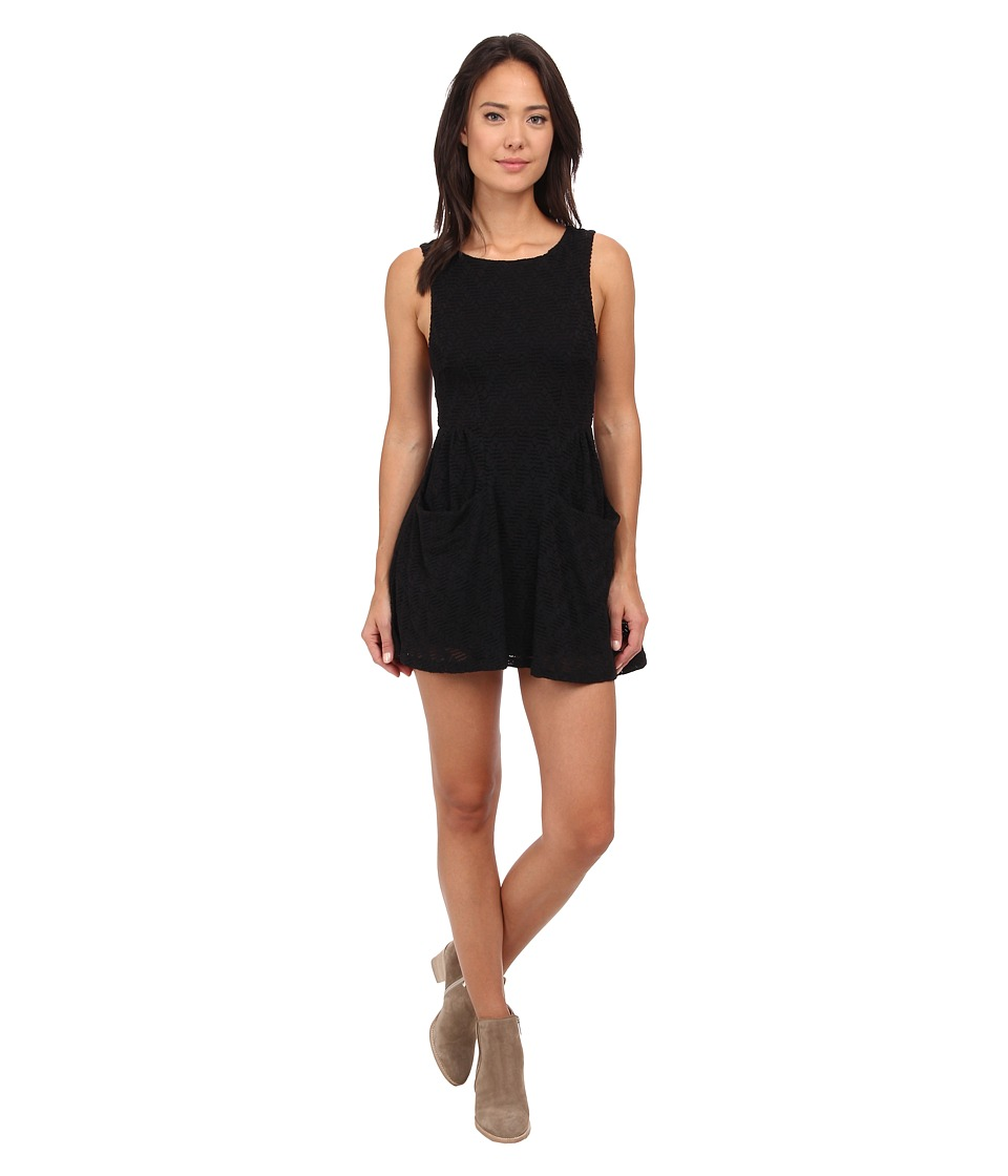 Free People - Textured Lace Poppy Mini Knit Dress (Black) Women's Dress