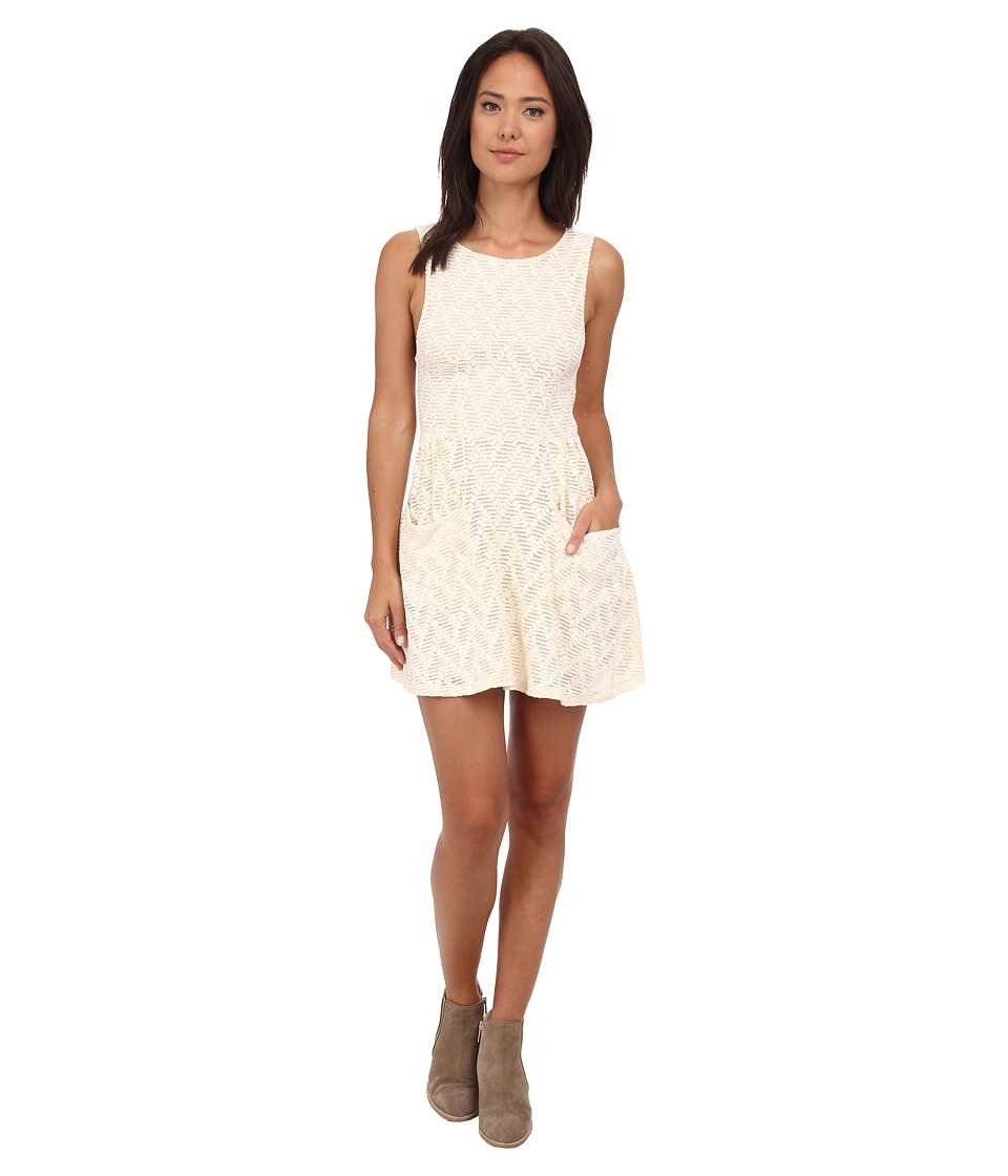 Free People - Textured Lace Poppy Mini Knit Dress (Tea) Women's Dress