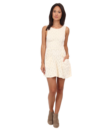 Free People - Textured Lace Poppy Mini Knit Dress (Tea) Women