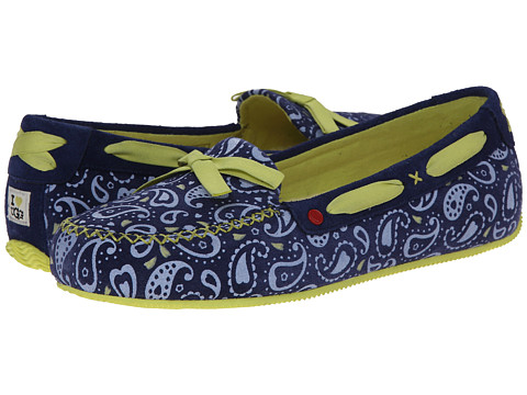 UGG - Belle Paisley (Blue Jean Paisley Suede) Women's Slip on Shoes