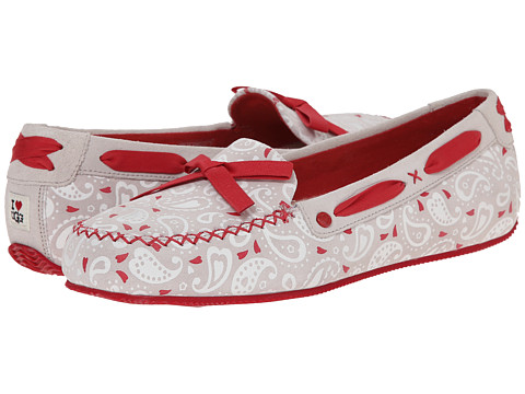 UGG - Belle Paisley (Dove Paisley Suede) Women's Slip on Shoes