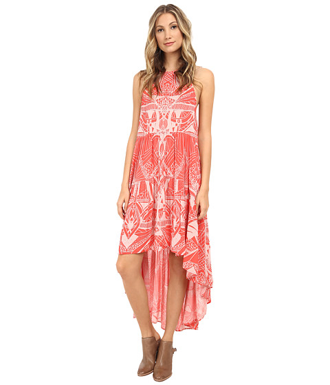 Free People - 60's Rayon Voile La Mar Printed Dress (Hot Coral Combo) Women's Dress
