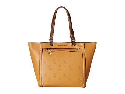 U.S. POLO ASSN. - Embossed Logo Tote (Camel) Tote Handbags