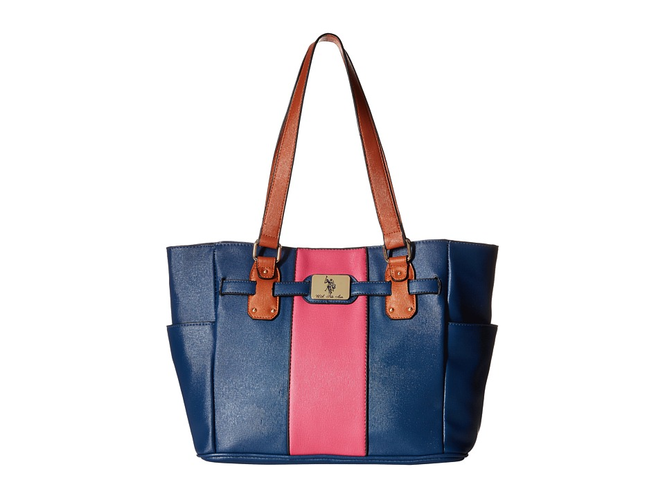 U.S. POLO ASSN. - Color Blocked Tote (Navy/Pink) Tote Handbags