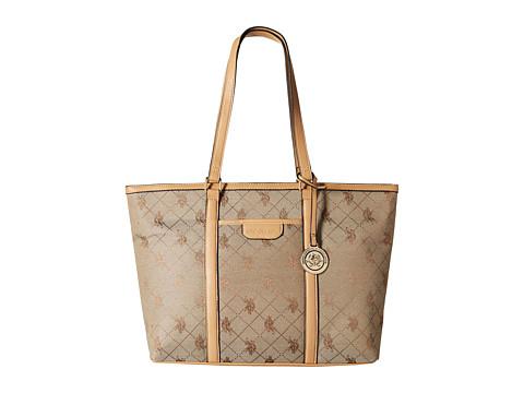U.S. POLO ASSN. - Logo Jacquard Tote (Beige) Tote Handbags