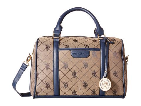 U.S. POLO ASSN. - Logo Jacquard Satchel (Navy) Satchel Handbags