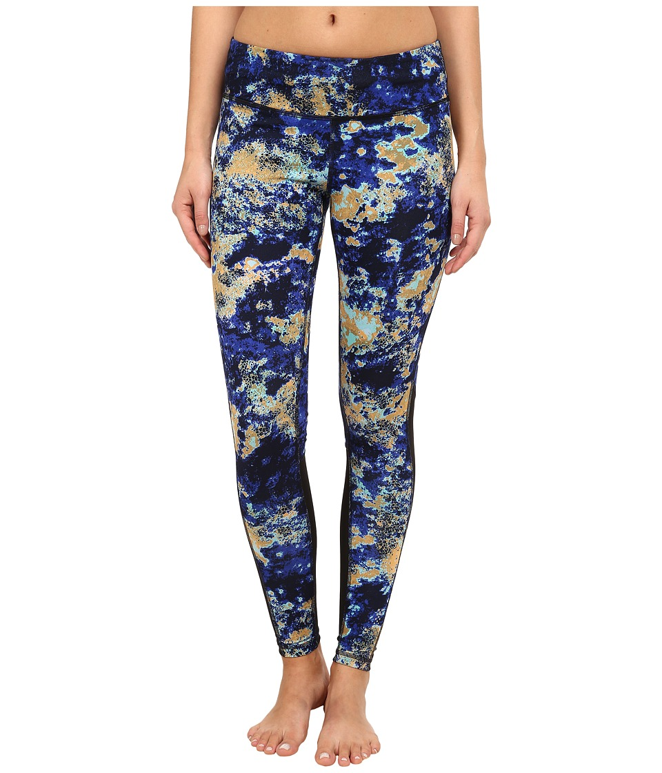 Zobha - Cosmo Printed Leggings with Mesh Panels (Muscari Blue) Women's Workout