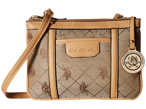 U.S. POLO ASSN. - Logo Jacquard Crossbody (Beige) Cross Body Handbags