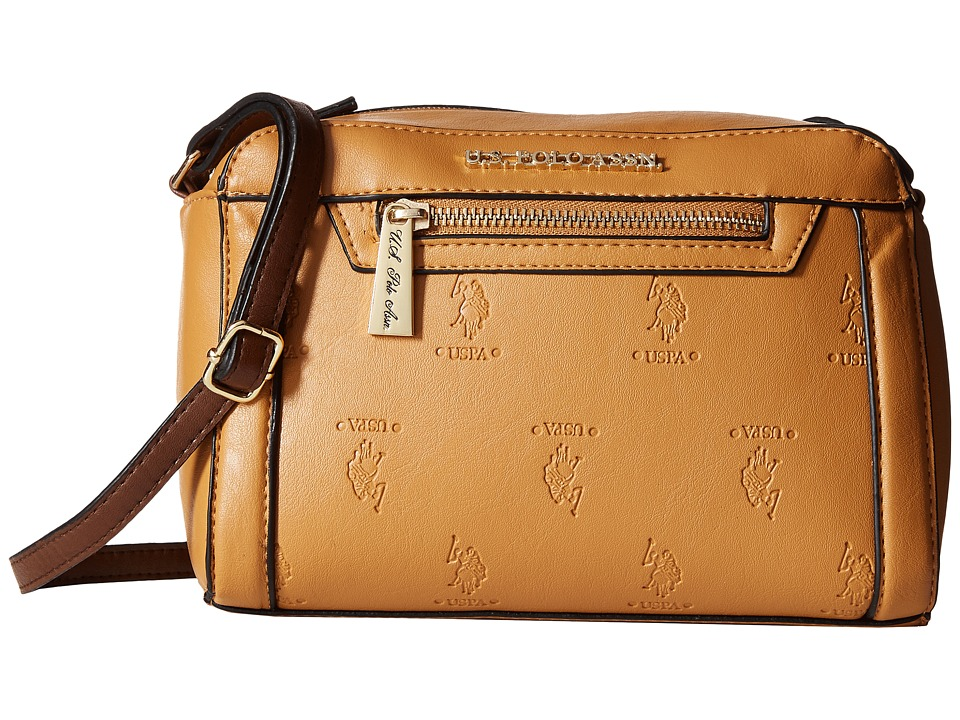 U.S. POLO ASSN. - Embossed Logo Crossbody (Camel) Cross Body Handbags