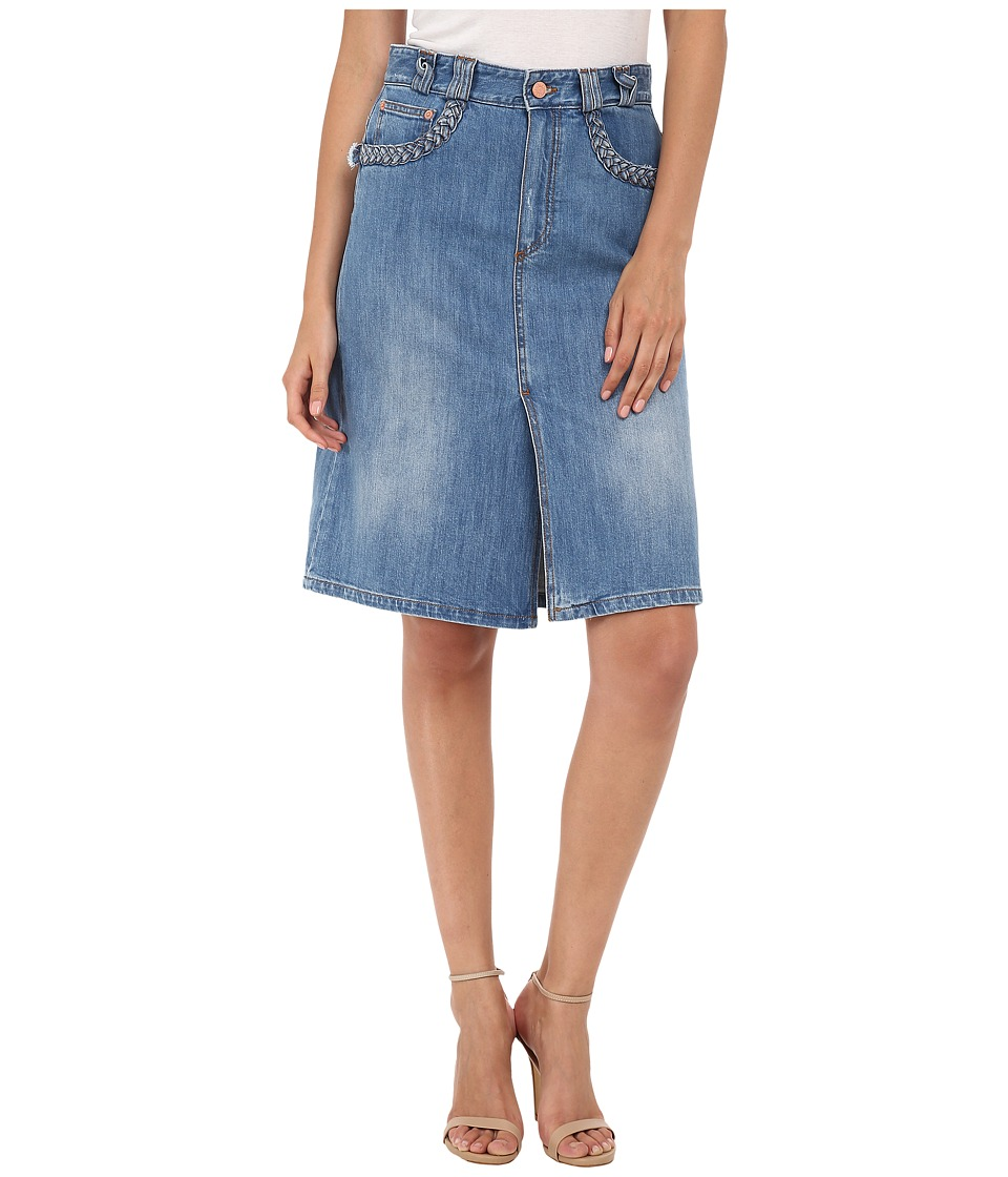 See by Chloe - Denim Mid Skirt (Stoned Indigo) Women's Skirt