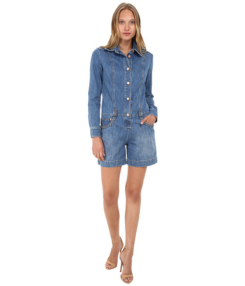 See by Chloe - Denim Long Sleeve Jumpsuit (Stoned Indigo) Women