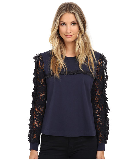See by Chloe - Jersey Long Sleeve Top (Dark Navy) Women's Long Sleeve Pullover