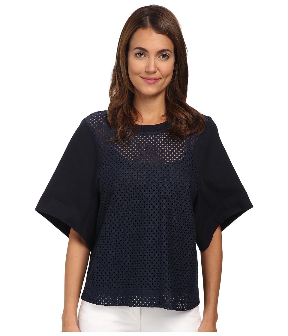 See by Chloe - Lace Short Sleeve Top (Dark Navy) Women