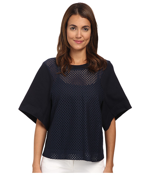 See by Chloe - Lace Short Sleeve Top (Dark Navy) Women