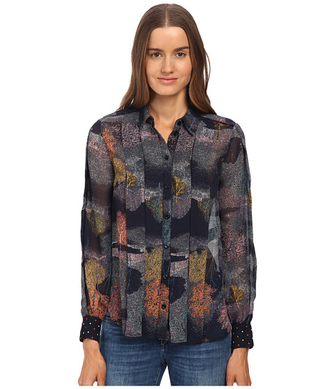 See by Chloe - Georgette Long Sleeve Top (Dark Navy) Women's Long Sleeve Button Up