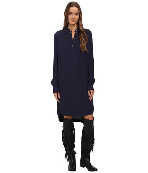 See by Chloe - Viscose Long Sleeve Dress (Dark Navy) Women's Dress