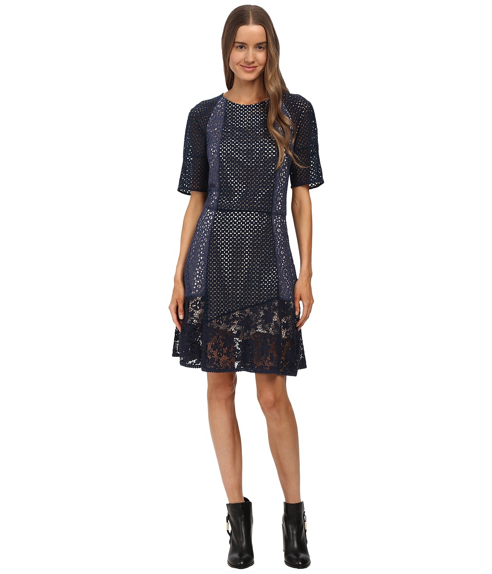 See by Chloe - Lace Short Sleeve Dress (Indigo) Women's Dress