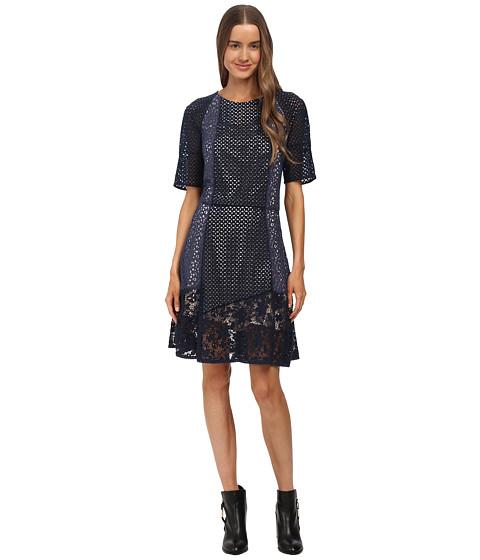 See by Chloe - Lace Short Sleeve Dress (Indigo) Women's Dress