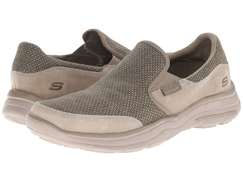 SKECHERS - Relaxed Fit Glides - Movito (Taupe) Men's Shoes