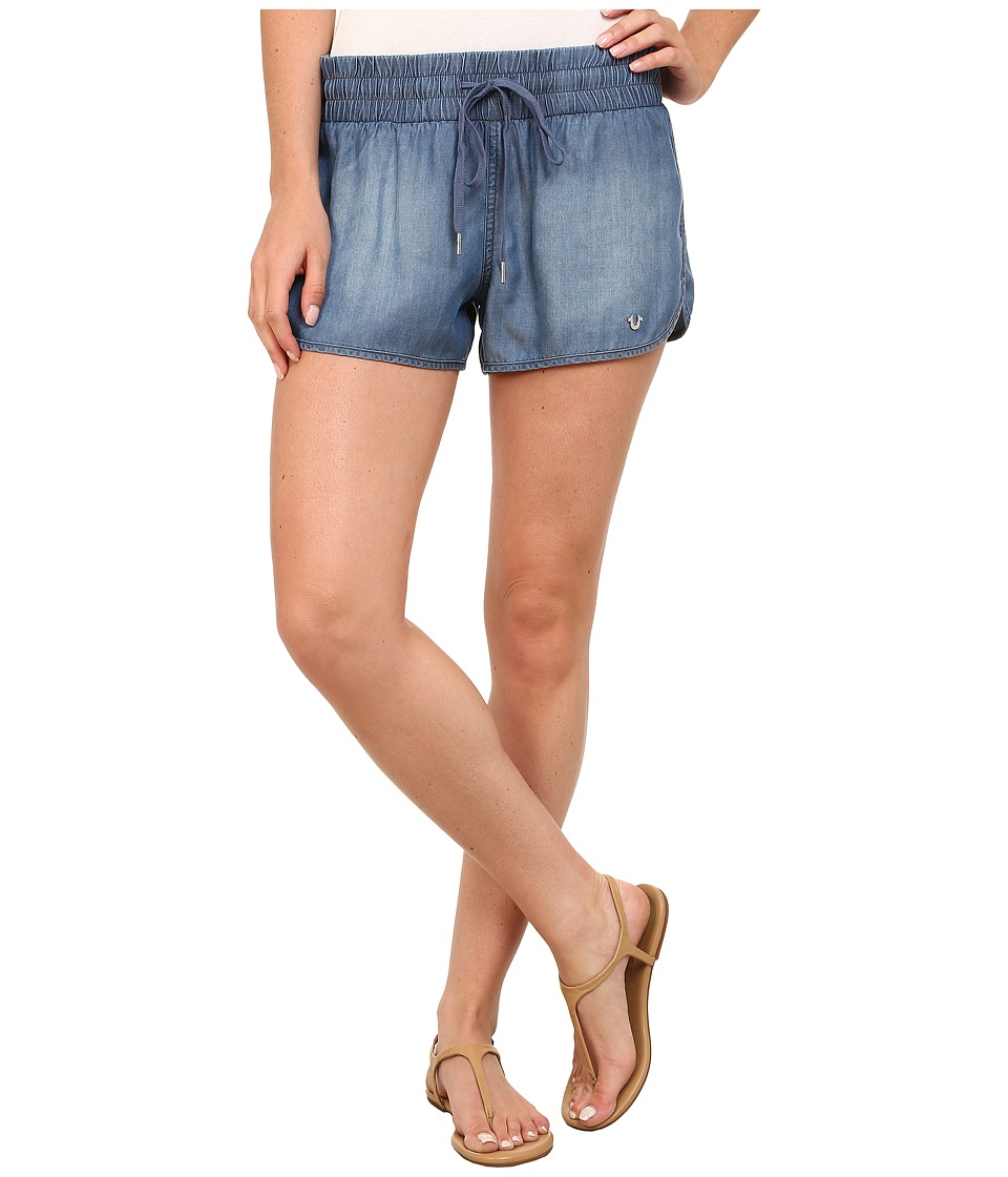 True Religion - Indigo Tencel Runner Shorts (Medium Wash) Women