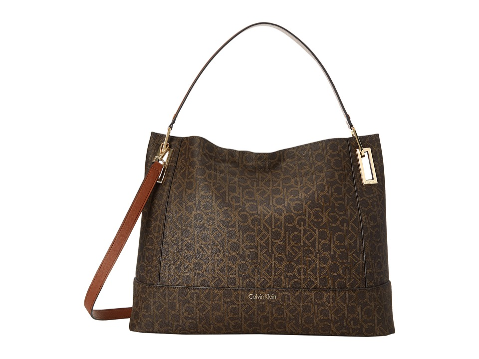 Calvin Klein - Logo Hobo (Brown/Khaki/Luggage Saffiano) Hobo Handbags