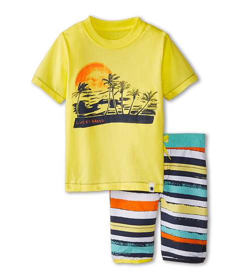 Lucky Brand Kids - Catch The Sun Swim Set (Toddler) (Lemonada) Boy's Swimwear Sets