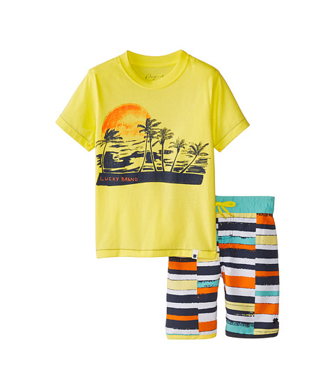 Lucky Brand Kids - Catch The Sun Swim Set (Little Kids/Big Kids) (Lemonada) Boy's Swimwear Sets