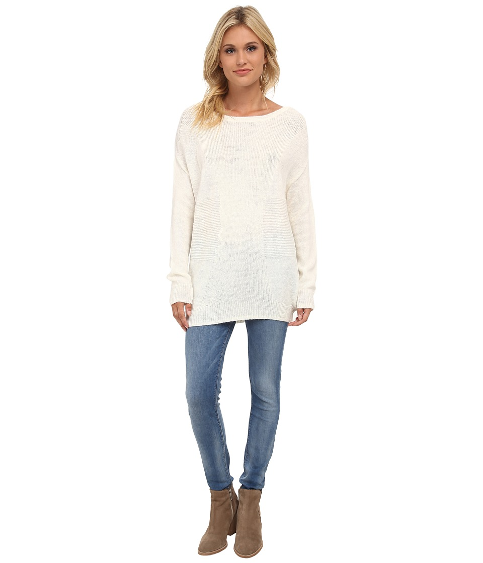 Splendid - Grid Rib Pullover (Cream) Women's Long Sleeve Pullover