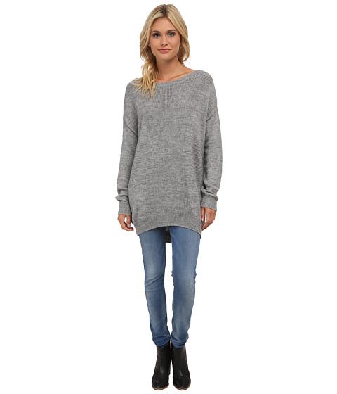 Splendid - Grid Rib Pullover (Slate) Women's Long Sleeve Pullover