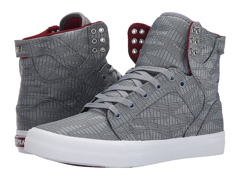 Supra - Skytop HF (Steel/Burgundy/White) Men