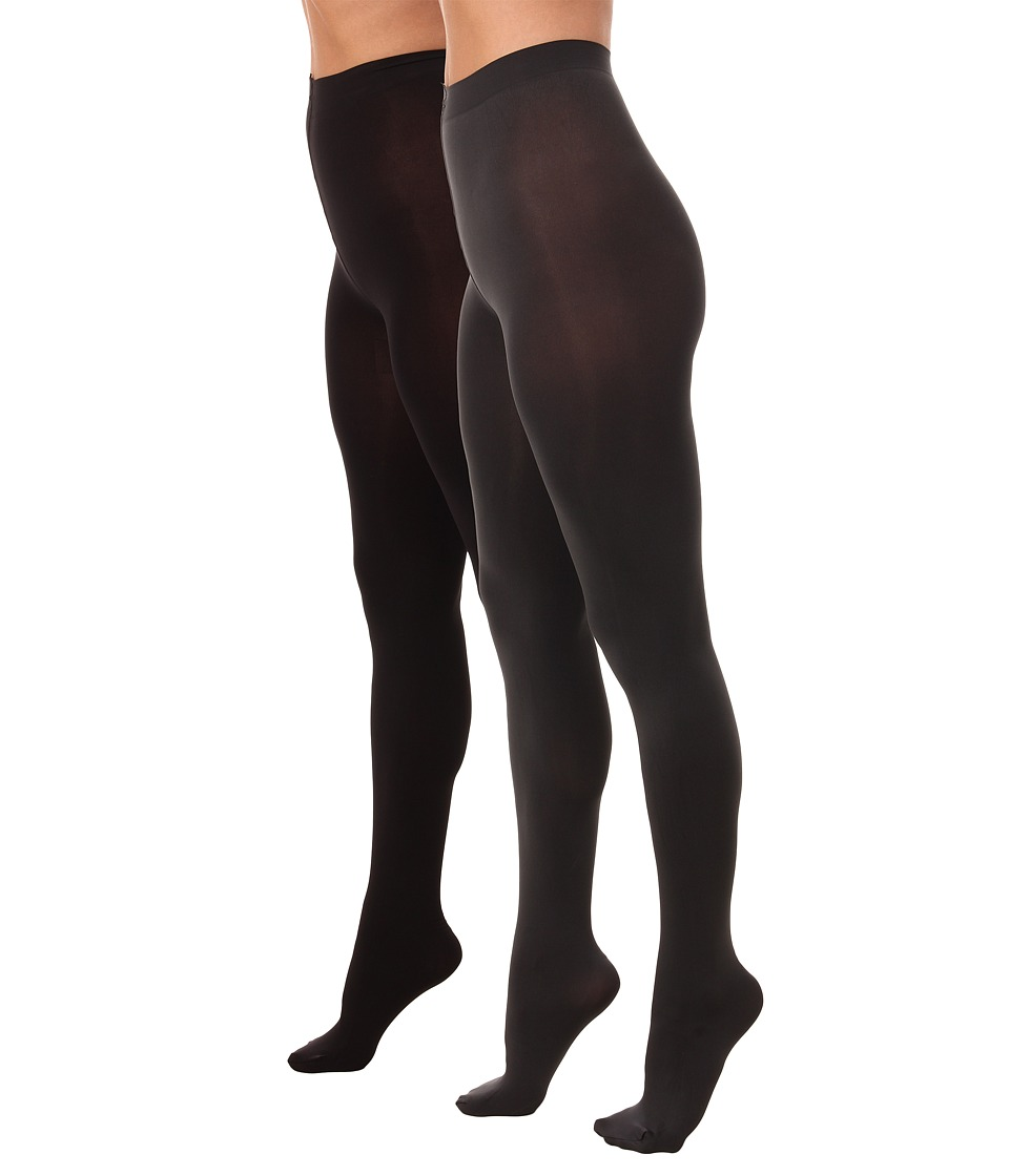 HUE - Blackout Tights 2-Pack (Cobblestone/Black) Hose