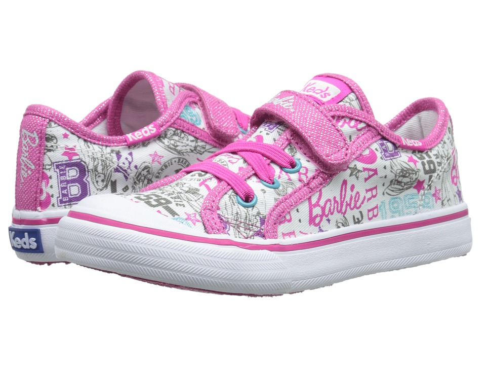 Keds Kids - Barbie Double Up AC (Toddler/Little Kid) (White Multi) Girl's Shoes