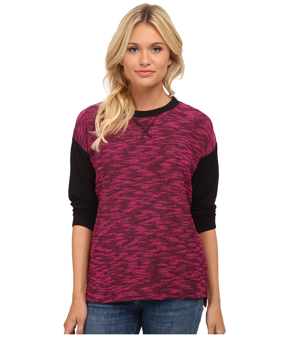 kensie - Two-Tone Slub Top KS8K3704 (Magenta Combo) Women's Long Sleeve Pullover