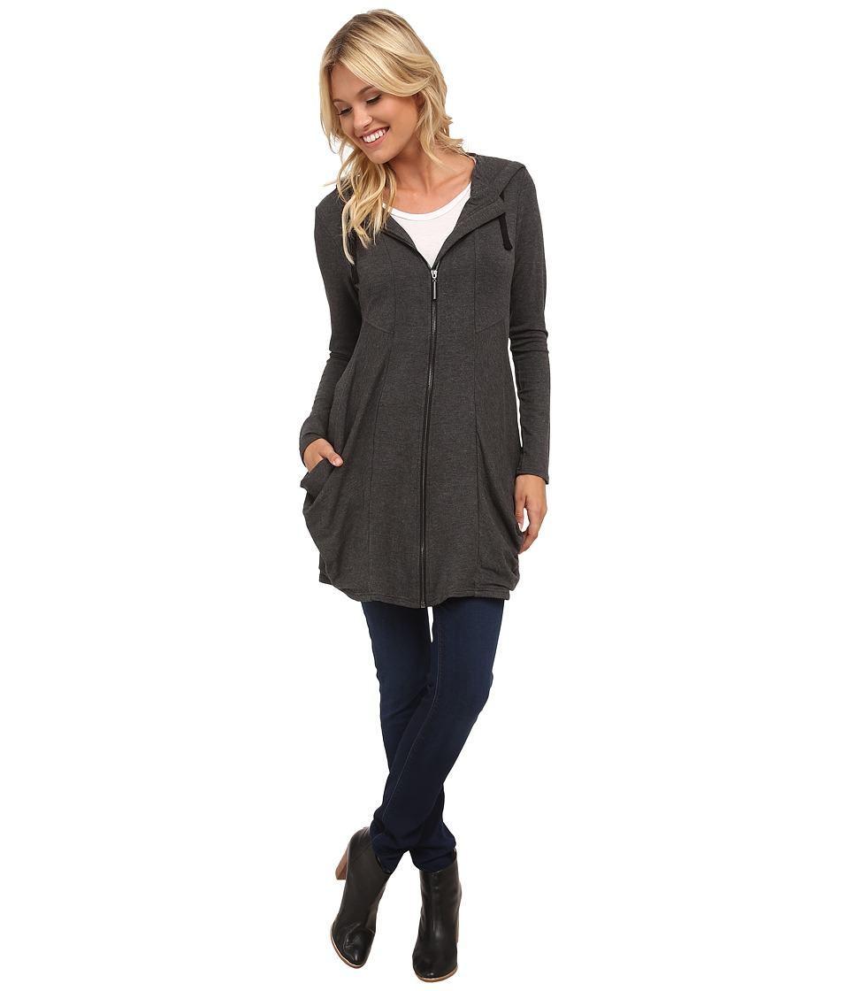 kensie - Drapey French Terry Hooded Jacket KS8K2143 (Heather Dark Grey) Women's Coat