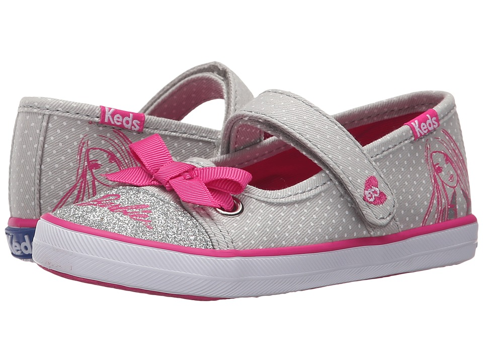 Keds Kids - Barbie MJ (Toddler/Little Kid) (Grey/Pink) Girl's Shoes