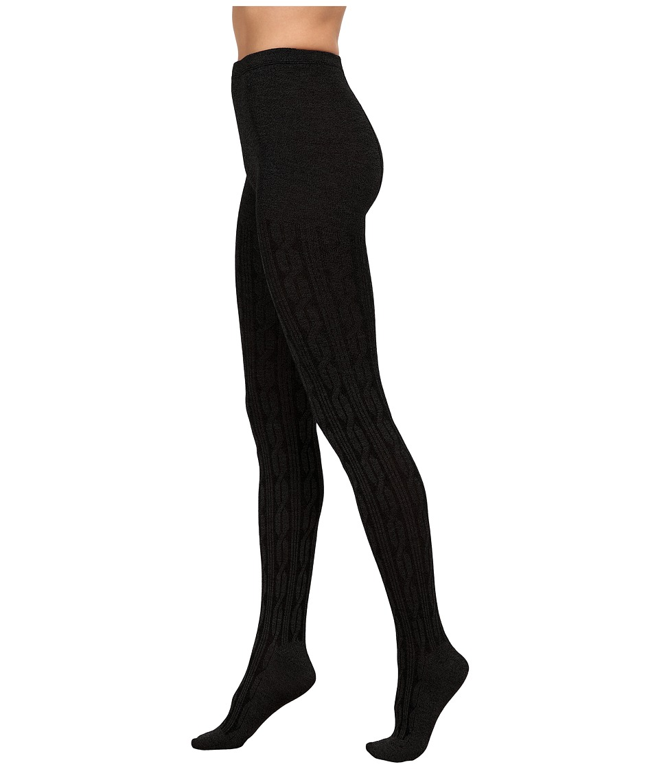 HUE - Bold Cable Sweater Tights (Black) Hose