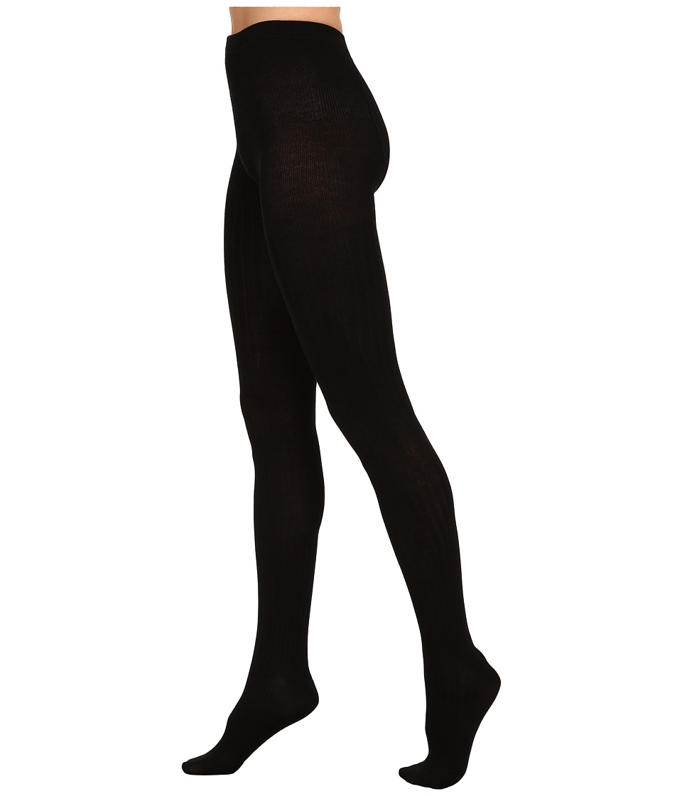 HUE - Ribbed Sweater Tights (Black) Hose