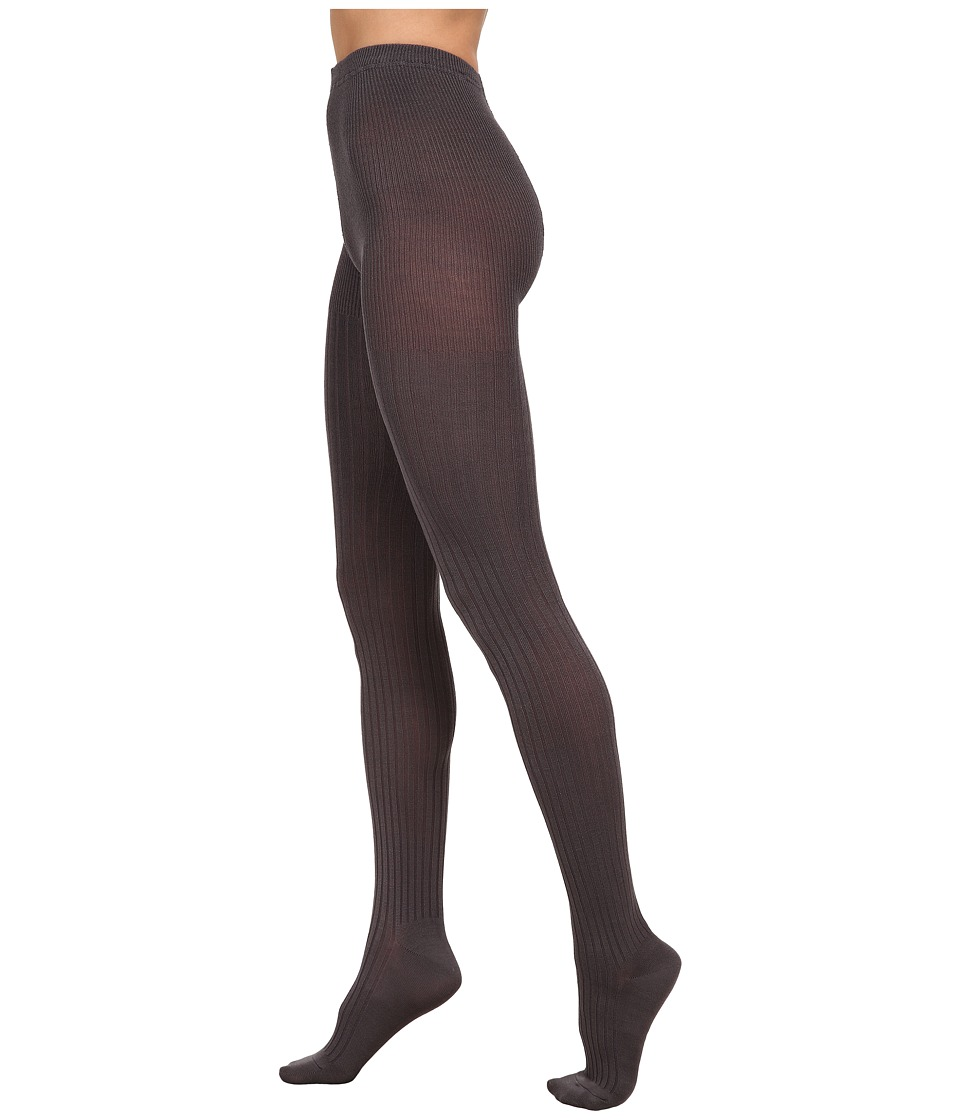 HUE - Ribbed Sweater Tights (Graphite) Hose